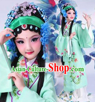 Chinese Opera Costumes and Headwear Complete Set for Kids