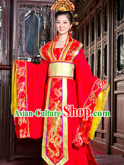 Ancient Chinese Tang Red Phoenix Wedding Robe with Long Tail