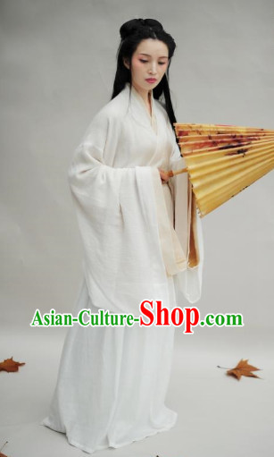 Ancient Chinese White Hanfu Clothing Complete Set