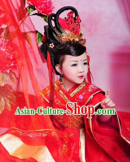 Chinese Traditional Wedding Dress and Headwear Complete Set for Children