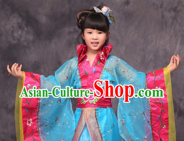 Blue Long Trail Ancient Chinese Princess Costume for Kids