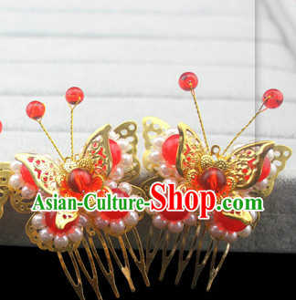 Red Traditional Handmade Butterfly Hair Accessories