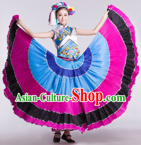 Chinese Traditional Yi Lady Dance Skirt and Headwear Complete Set