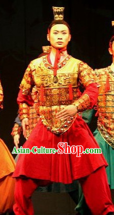 Chinese Terra Cotta Warrior Hat and Dance Costumes Complete Set