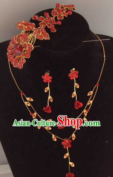 Chinese Traditional Wedding Hair Accessories and Necklace
