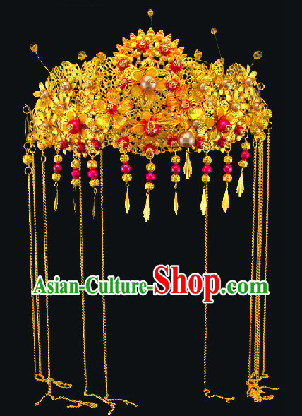 Gold Color Chinese Classical Wedding Guzhuang Bridal Hair Accessory