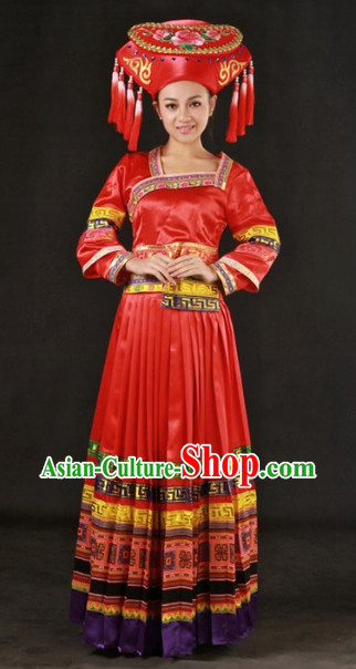 Miao People Wedding Dress and Hat Complete Set for Brides