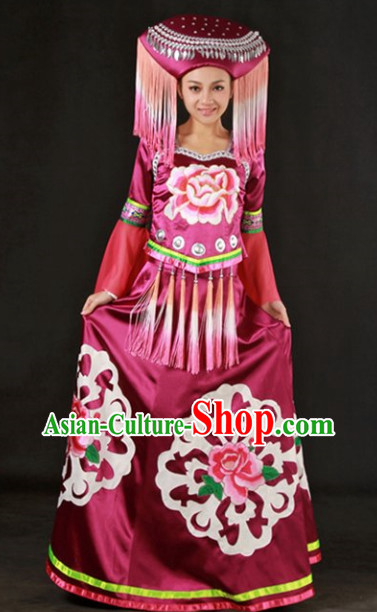 Big Peony Zhuang Ethnic Minority Recital Dance Costume and Headgear Complete Set