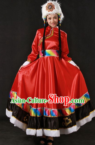 Tibetan Ethnic Minority Clothing and Hat for Women