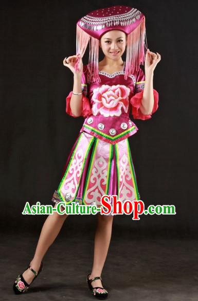 Stage Classical Zhuang Dancing Costumes and Headwear for Ladies
