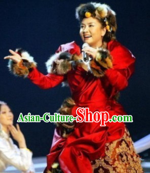 Chinese Tibetan Singer Costumes and Hat Complete Set