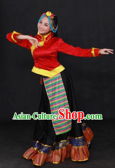 Tibetan Folk Costume and Headwear Complete Set for Girls