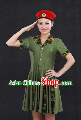 Female Solider Modern Dance Costumes and Hat for Girls