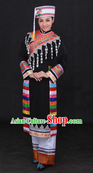 Lagu Ethnic National Dance Costumes and Hat Complete Set for Women