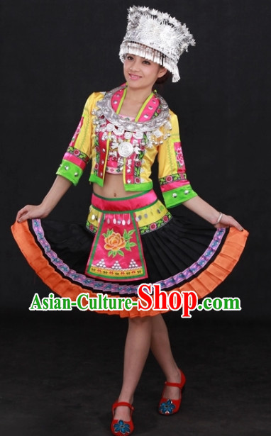 Hani Ethnic Traditional Dresses and Silver Hat Complete Set for Women