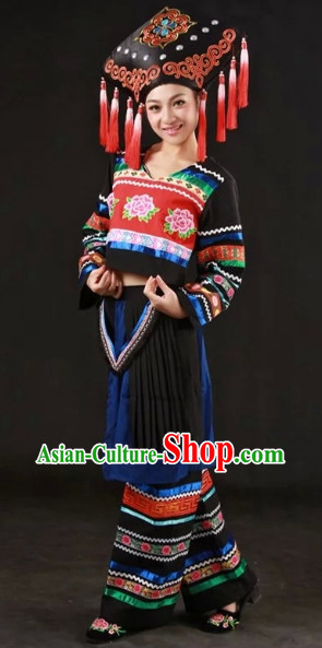 Zhuang Ethnic Traditional Dresses and Hat Complete Set for Women