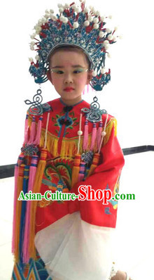 Traditional Chinese Phoenix Embroidered Costumes for Kids