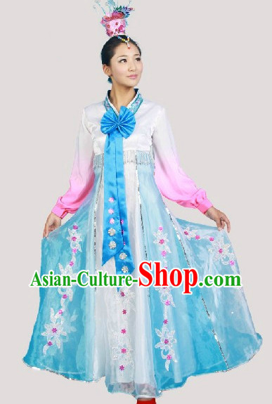 Korean Traditional Dance Costumes and Headwear Complete Set for Women