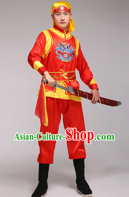 Classical Embroidered Dragon Dancer Blouse Pants and Headband Uniform
