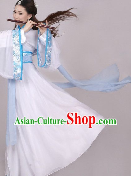 White Chinese Hanfu Clothes Complete Set