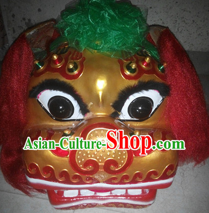 Gold Face Smiling Beijing Lion Dance Head