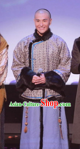 Qing Dynasty Palace Official Costumes and Long Wig Complete Set