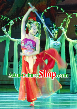 Professional Acrobatics Sword Dance Costumes and Headwear for Women