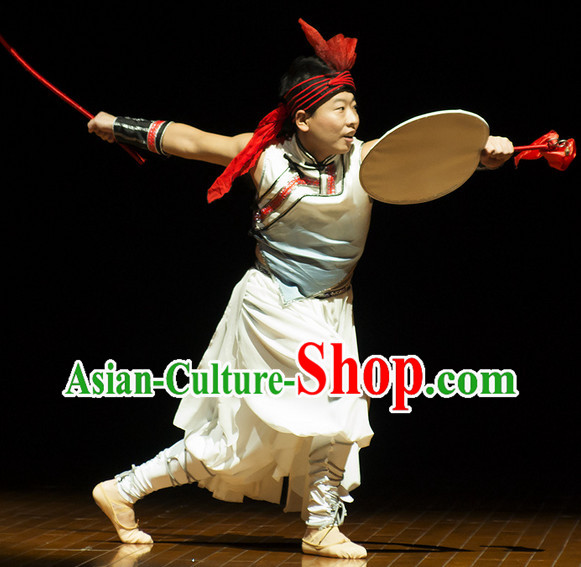 Professional Drum Dance Costumes and Headwear Complete Set