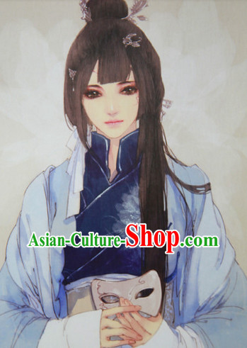 Chinese Traditional Black Guzhuang Hanfu Wig and Hair Accessories for Girls