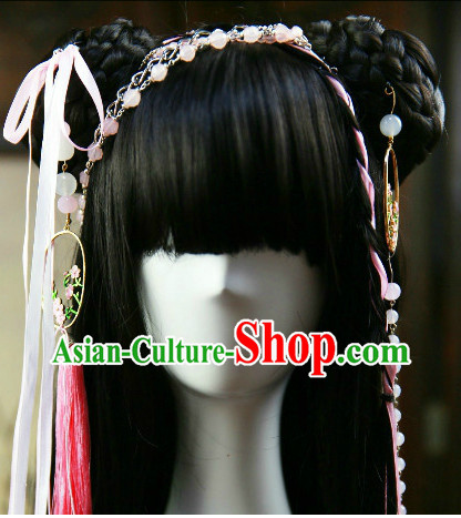 Chinese Traditional Black Cosplay Hanfu Wig and Hair Accessories for Girls
