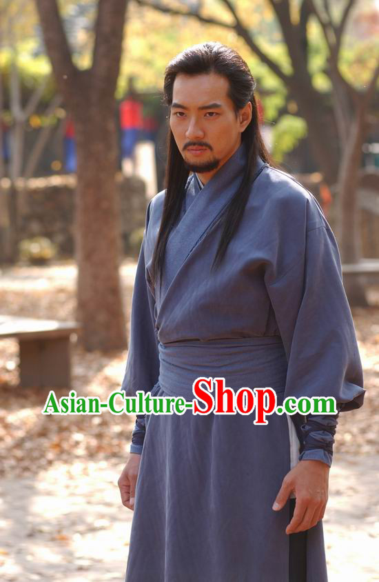 Traditional Korean Swordman Costume and Headwear Complete Set
