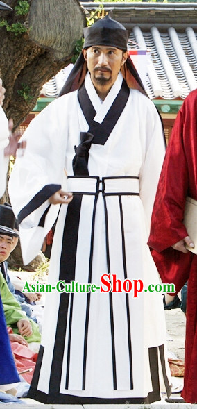 Ancient Korean Teacher Costumes and Hat Complete Set