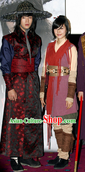 Ancient Korean Male Long Robe and Bamboo Hat Complete Set
