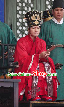 Ancient Korean Government Official Costumes and Hat Complete Set