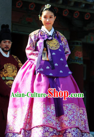 Korean Traditional Imperial Palace Princess Clothes and Hair Accessories Complete Set