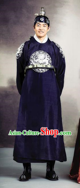 Korean Traditional Prince Clothes and Headwear Complete Set