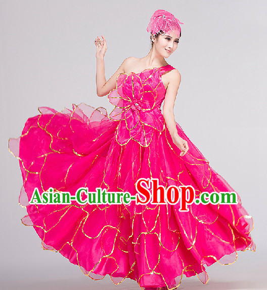 Grand Opening Group Dance Costumes and Headwear Complete Set for Women