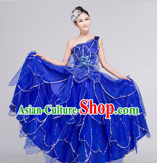 Blue Group Dance Costumes Complete Set for Women