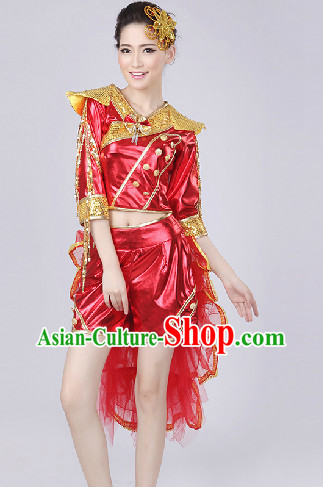 Enchanting Effect Red Drum Dance Costume and Headwear Complete Set for Girls