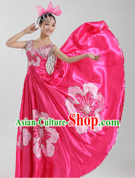 Enchanting Effect Folk Dance Costumes and Headwear Complete Set for Women 2