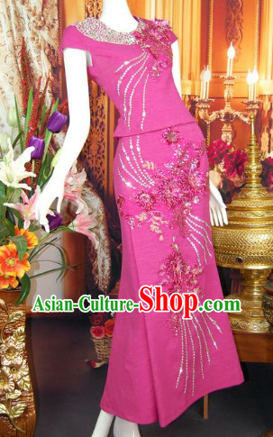 Southeast Asia Traditional Thailand Evening Dresses for Women