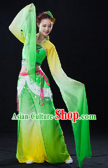 Long Water Sleeves Classical Dance Costumes Complete Set for Women