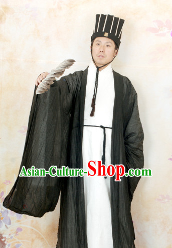 Ancient Zhuge Liang Three Kingdoms Costumes, Fan and Hat for Men