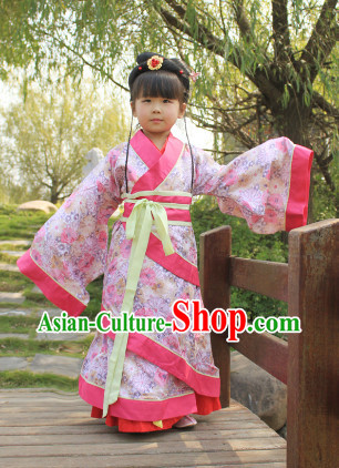 Standard Traditional Hanfu Outfits and Hair Accessories for Kids
