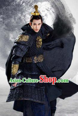 Ancient Chinese General Horseman Black Costumes Complete Set for Men