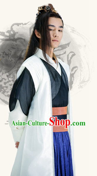 Ancient Chinese Wuxia Swordman Costumes Complete Set