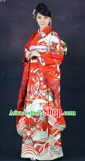 Classical Japanese Furisode Kimono 16 Pieces Complete Set for Women