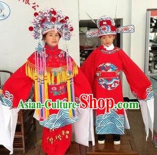 Ancient Chinese Wedding Dresses and Hat for Kids