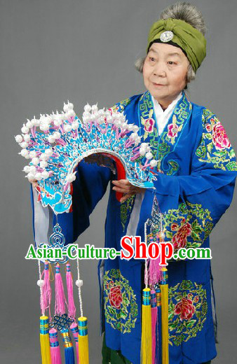 Peking Opera Embroidered Old Woman Costumes Long Robe