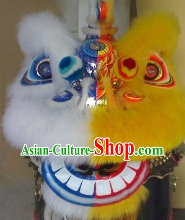 Half Yellow Half White Long Wool Hok San Lion Dance Costume Complete Set